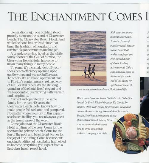 The first two panels of the Clearwater Beach Hotel pamphlet. Text details a brief history of the hotel as well as aesthetic marketing points. Displays photos of people running on the beach as well as a plate of horderves. Printed with color ink.