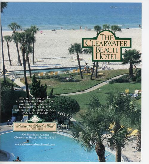 Front and back cover of a Clearwater Beach Hotel Pamphlet. Depicts hotel guests lounging and socializing on the hotel's grounds. Printed with color ink.