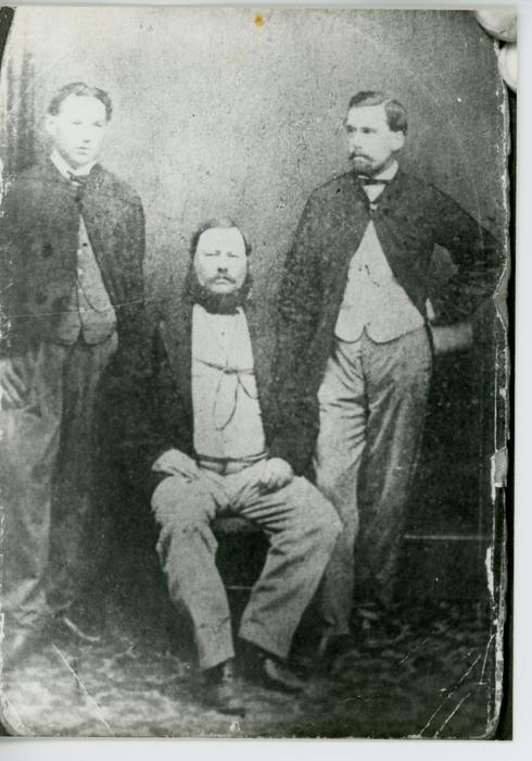 Family portrait depicting Donald, James and Dougal Maclachlan, the paternal great-great grandfather and paternal great uncles of Charles Brown, Jr.