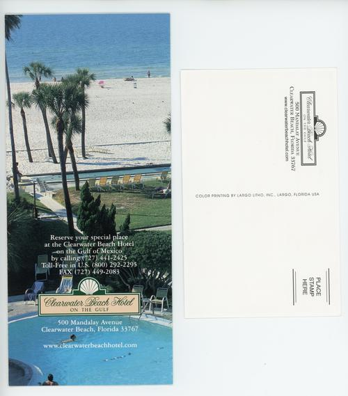 The reverse sides of the Clearwater Beach Hotel's pamphlet and postcard. They each detail the contact information for the Clearwater Beach Hotel.